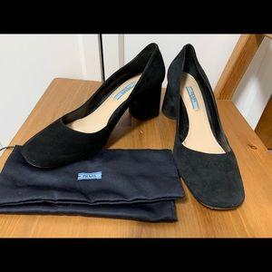 Prada Black Suede Block Heels - Size 38.5